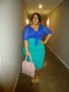 "Chastity of ""The Curvy Girl's Guide to Style"" channeled her inner Michelle Obama for a perfect Spring ensemble. We're definitely taking notes on this gorgeous ensemble!  The First Lady loves her JCrew pencil skirts so Chastity tucked in the Melrose Mesh Top by Kiyonna into her turquoise skirt. #plussize"
