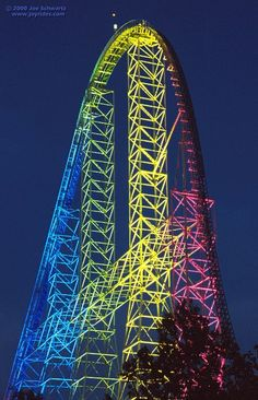 Millenium Force At night. Smooooothest roller coaster ever ridden... Cedar point