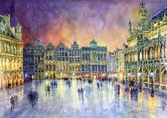 Belgium Brussel Grand Place Grote Market by Yuriy Shevchuk ~ watercolor