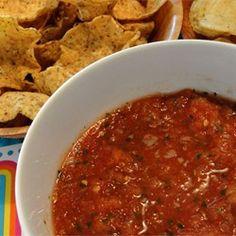 Easy Blender Salsa - Allrecipes.com Diabetic Recipes, New Recipes, Vegan Recipes, Cooking Recipes, Favorite Recipes, Blender Recipes, Ninja Recipes, Diabetic Foods, Party Recipes