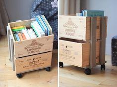 caisse bois bibliotheque