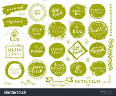 Retro Style Set Of 100% Bio Organic Gluten Free Eco Bio Healthy Food Restaurant Menu Logo Label Templates With Floral And Vintage Elements In Green Color. Organic Food Badges In Vector - 322494518 : Shutterstock