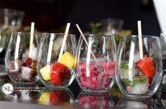 Flavored Ice Cubes -- lemon & mint, blueberry, blackberry, pineapple & raspberry, strawberry & basil