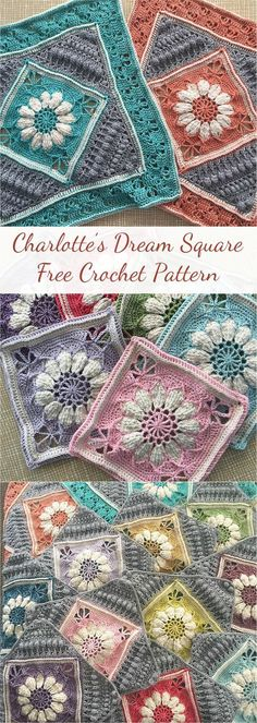 """Charlotte's Dream is a crochet blanket that incorporates 12 Charlotte squares in 12 contrasting colours. It has a vibrant, vintage feel which is both elegant and whimsical. The blanket is 172 cm (68"""") x 130 cm (51"""") in size, and has a simple Popcorn edging to complement the intricate design of the squares. Link for free pattern...Read More »"""