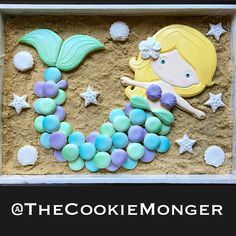"""Stacey @TheCookieMonger on Instagram: """"How fun is this? A huge, sparkly mermaid platter for a 3 year-old's beach party! My friend, who's an amazing artist, had the idea for a…"""""""