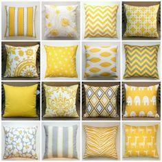 Cojines combinando amarillo, gris y blanco