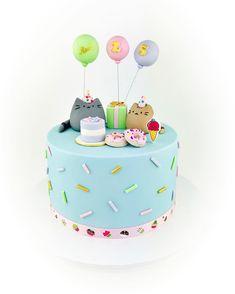 Pusheen cat birthday cake Pusheen Birthday, Birthday Cake For Cat, Happy Birthday Me, Cat Cake Topper, Fondant Cupcake Toppers, Fondant Cakes, Pusheen Cakes, 1st Birthday Girl Decorations, Bithday Cake