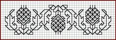 Pattern: Artichoke Border. All Blackwork Patterns designed by Paula Katherine Marmor and shown at her blackworkarchives website.