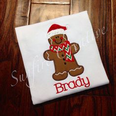 Boy or Girl Gingerbread Santa Shirt by sunfirecreative on Etsy, $22.00