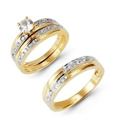 14k two tone half and half band cz wedding ring trio vistabella http - Amazon Wedding Rings