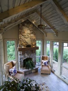 family room/sunroom addition floor to ceiling windows Four Seasons Room, Three Season Room, Family Room Addition, Sunroom Addition, Outdoor Rooms, Outdoor Living, Casas Country, Traditional Porch, Cottage Porch