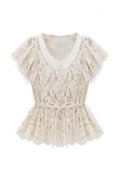 V-neck Lace White Shirt