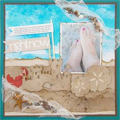 Scrapbooking crafts paper ds at the beach lighthouse sand ocean real Beach Scrapbook Layouts, Vacation Scrapbook, Scrapbook Sketches, Scrapbooking Layouts, Scrapbook Cards, Photos Black And White, Videos Tumblr, Cricut Creations, Boho