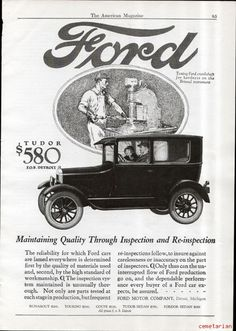 Great vintage ad showing the 1926 Ford Tudor car. Henry made'em good and made 'em cheap!! Nice old ad for framing.