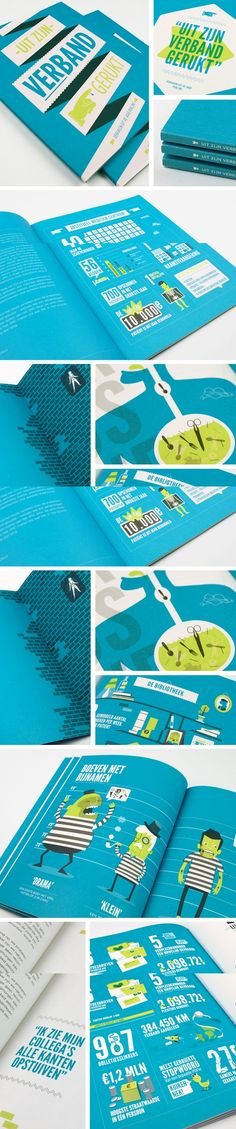 """Print and Publication / """"Uit Zijn Verband Gerukt"""" Data Visualization and Infographic Publication Design (this person has rad skills with colour...)"""