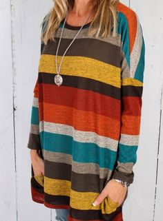 f2f1eac93a Women s Round Neck Long Sleeve Colorful Striped Tee Shirt - ROAWE.COM