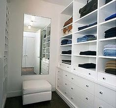 wardrobe ideas- small space. Maybe have drawers on one side & hangers on other with mirror & ottoman? Or maybe hanging space for tops instead of the open shelves?