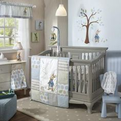 New Lambs & Ivy 5 Piece Baby Crib Bedding Set Peter Rabbit. The Peter Rabbit™ 4 Piece Baby Crib Bedding Set includes comforter, dust ruffle, fitted sheet and diaper stacker. It hangs from ties in the top corners. Baby Crib Bedding Sets, Nursery Crib, Crib Sets, Nursery Furniture, Baby Cribs, Lamb Nursery, Bunny Nursery, Children Furniture, Modern Furniture