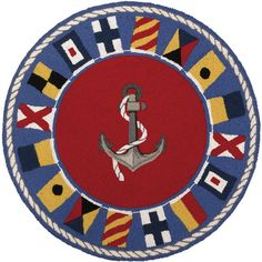 Anchor an empty floor space at your beach home with this Round Signal Flag Nautical Rug. With its' anchor image center and bold nautical colored signal flag border, it will be the perfect little Nautical Rugs, Coastal Rugs, Coastal Decor, Nautical Office, Coastal Homes, Beige Area Rugs, Wool Area Rugs, Wool Rug, Beach Cottage Decor