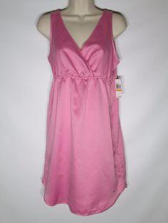 New $42 Nautica Medium Babydoll Chemise Pink Sleeveless Short Gown Silky Woven #Nautica #BabydollChemise