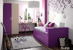 Breathtaking Teenage Girl Bedrooms Design With Purple Bed Along Gray Bedding Also White Desk And Purple Chair Plus White Glass Window And White Round Pendant Lamp Also White Wall Wallpaper And White Fur Rug On The Brown Wooden Floor As Well As Designs For Teenage Girl Bedrooms And Small Teen Bedroom, Pretty And Cool Teenage Girl Bedrooms: Bedroom
