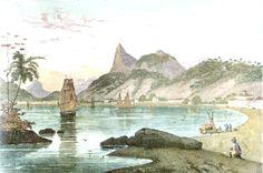 """""""Enseada de Botafogo"""". (by Johann Moritz RUGENDAS)."""