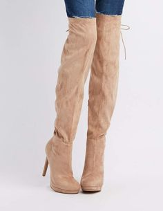 9d4ffea8e01 Charlotte Russe Lace-Up Back Over-The-Knee Boots Toe Shape