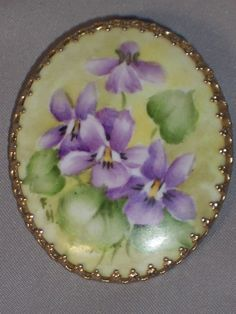 VINTAGE HAND PAINTED PORCELAIN PIN OF VIOLETS ARTIST SIGNED | Jewelry & Watches, Vintage & Antique Jewelry, Costume | eBay!