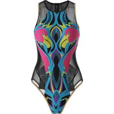 See Through Printed One Piece Swimwear ($17) ❤ liked on Polyvore featuring swimwear, one-piece swimsuits, rosegal, one-piece swimwear, sheer one piece swimsuit, sheer one piece bathing suits and one piece swim wear