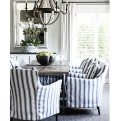 Striped and slip covered….. 📷pinterest #fleaingfrance #interior #decor #inspiration #homedecor #decoration