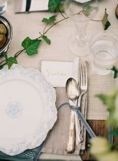 inspiration | english manor table setting with french blue accents | via: once wed