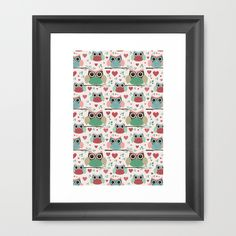 Owls in Love Pattern Framed Art Print