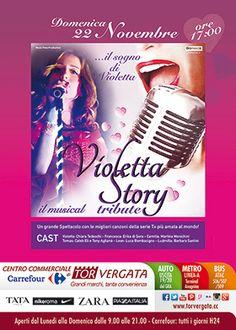 Domenica 22 Novembre alle ore 17 ti aspettiamo per il grande show di Violetta. Un grande spettacolo con le più belle canzoni della serie TV più amata.