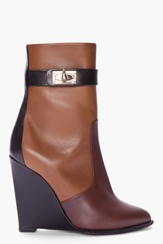 Givenchy Brown Tri_color Sharklock Wedge Boots $1,015.00