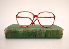 Vintage eyeglasses, red amber tortoise shell,  80s oversize large frame by dahlilafound, $48.00