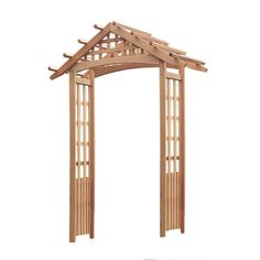ABSOLUTELY PERFECT for the front door! Secure to planter boxes and I think I can avoid the pesky building permit… Arboria Nantucket 97 x 72 in. Outside Cedar at The Home Depot Pergola With Roof, Cheap Pergola, Home Depot, Wood Arbor, Garden Arches, Seaside Style, Garden Arbor, Lattice Fence, Garden In The Woods
