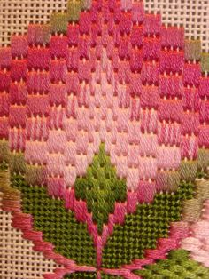 Vintage Needlepoint / Bargello embroidery 1970 Mounted ready to mat and frame Caning border Geometric design Flowers Rose Ivory White Bargello Quilt Patterns, Bargello Needlepoint, Bargello Quilts, Needlepoint Stitches, Needlepoint Kits, Needlepoint Canvases, Embroidery Stitches, Hand Embroidery, Embroidery Designs