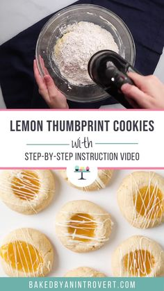 Lemon Thumbprint Cookies are made from scratch shortbread cookies filled with lemon curd. This recipe doesn't require chilling the dough and it comes together quickly. Easy No Bake Desserts, Delicious Desserts, Best Homemade Cookie Recipe, Quick Apple Dessert, Italian Cookie Recipes, Baking Recipes, Cupcake Cookies, Shortbread Cookies, Apple Fritter Bread