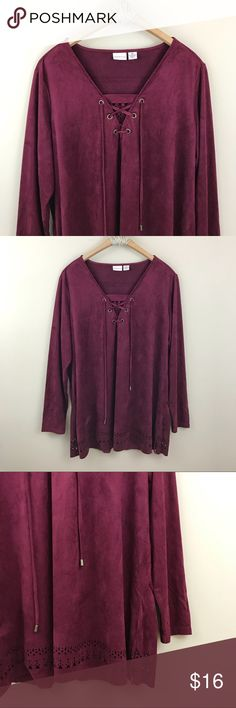 """Westbound   Burgundy Suede Lace Up Long Sleeve Burgundy suede-like long sleeve blouse with laser cut pattern at hem and neckline. Laced up at neckline. Size XL from Westbound.  Bust (pit to pit): 22"""" Length: 29"""" Westbound Tops Blouses"""