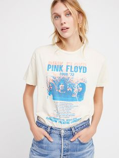 Pink Floyd Retro Tee | Distressed vintage-inspired Pink Floyd concert band tee.    * Super soft cotton   * Unfinished trim