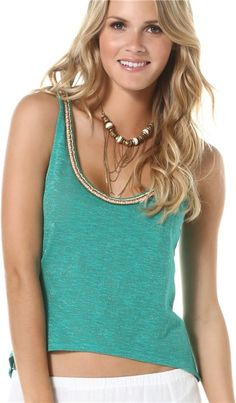 Turquoise and beaded tank @SWELL Style http://www.swell.com/Womens-Tanks/ROXY-OFF-THE-LAKE-BEADED-TANK?cs=GN