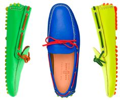 The original laidback Italian footwear, Car Shoe started off in 1963 as a unique patented moccasin and rubber studs design. Now owned by the Prada group alongside its more formal brother Church's, this classic shoe is available in all sorts of variations. Spring Summer 2013 sees neon, tassles, a kind of pre-scuffed situation and snakeskin.