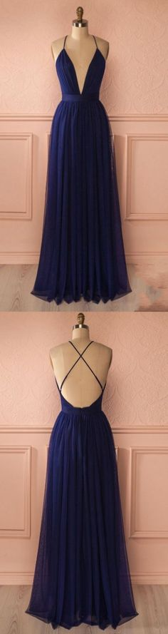 Floor length Prom Dresses, Navy Floor-length Evening Dresses,