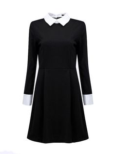 Wednesday Addams Halloween Dress Costume Black dress with White Round or Square… Wednesday Addams Halloween Costume, Wednesday Addams Dress, Halloween Dress, Wednesday Costume, Halloween Clothes, White Collar Dress, Peter Pan Collar Dress, Collared Dress, Pretty Outfits
