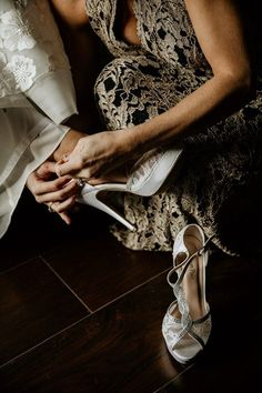 Silver wedding shoes ideas - heels, indoor, open toe, straps, rhinestones, glam, formal {Silverfox Photography & Cinematography}