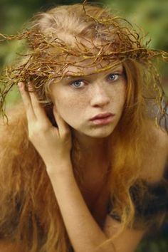 Having seen the girls wearing wreaths of flowers in their hair @ the village dance, the witches child.....