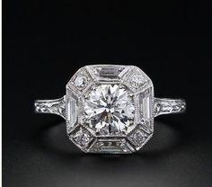 Art Deco Vintage Inspired Octogon Engagement Ring