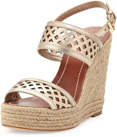 Tory Burch Lattice Perforated Wedge Sandal, Platinum