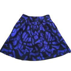 """Forever 21 Sz XS Blue Black Lined Cotton Skirt Forever 21 Sz XS Blue Black Lined A line Cotton Skirt length 19"""" New without tags! Forever 21 Skirts"""