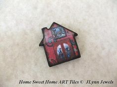 "Limited Edition Red Burgundy 1"" inch House ART Tile wood focal pendant charm"